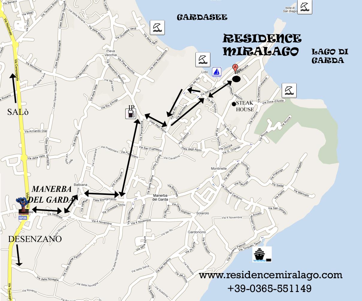 Karte von manerba del garda, Wegbeschreibung zum Hotel Residence Miralago in Manerba del Garda