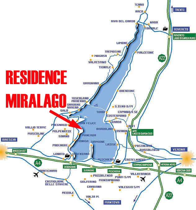 Karte des Gardasees, Anreise mit dem Auto zum Hotel Residence Miralago in Manerba del Garda